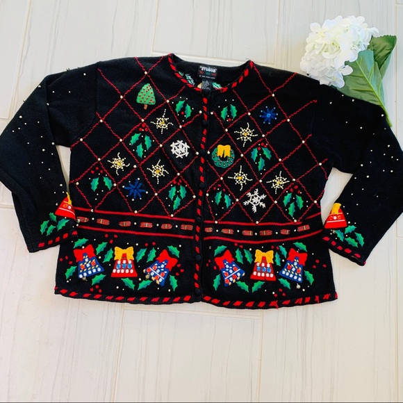 Sweaters - Vintage Black Christmas Ugly Sweater Size XL
